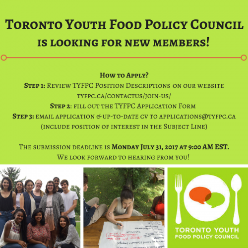 The Toronto Youth Food Policy Council is looking for new members!